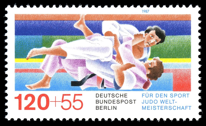 Briefmarke der Deutschen Bundespost Berlin von 1987, herausgegeben anlässlich der Jūdō-Weltmeisterschaften in Essen; auf einem Gemälde vor buntem Hintergrund zwei Jūdō-Kämpfer im dynamischen Fall