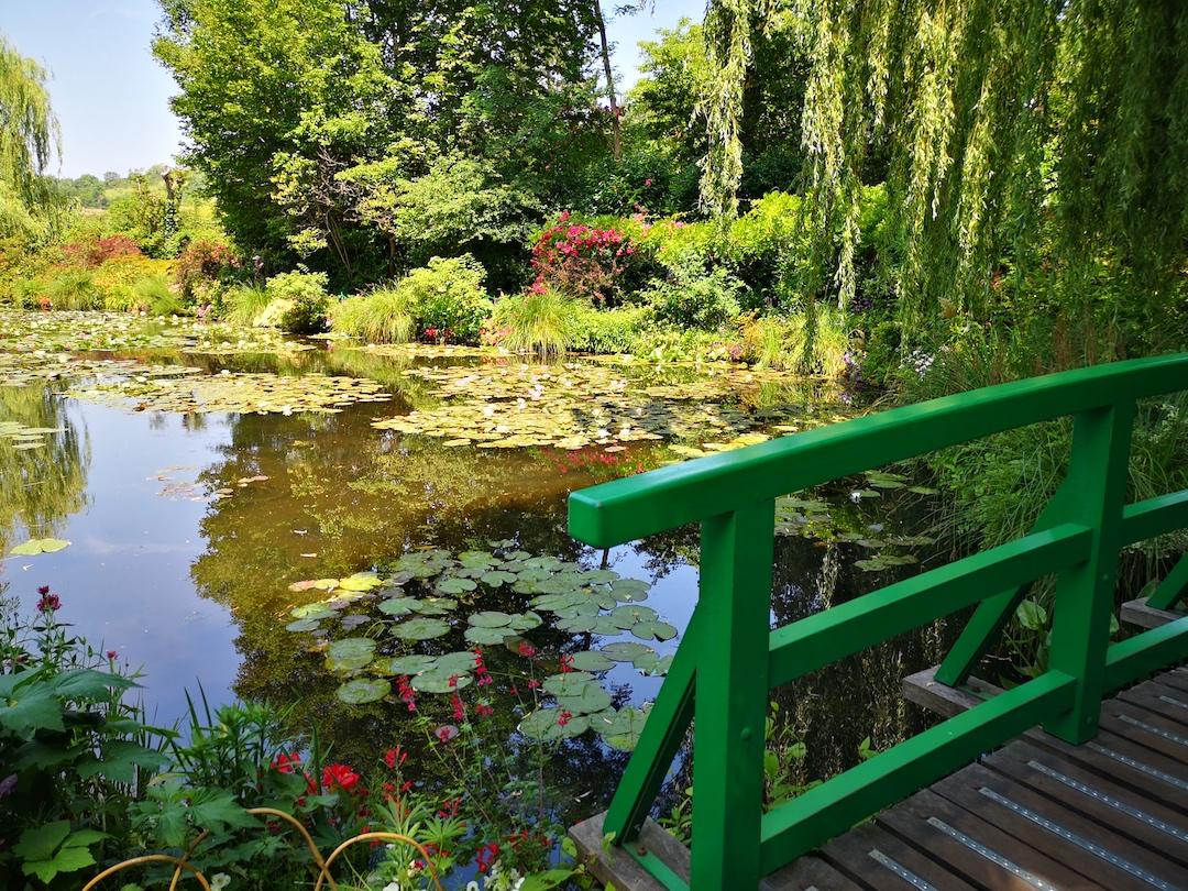 Im Wassergarten von Claude Monet Blick von der Brücke mit dem grünen Geländer auf den Teich mit den Seerosen. Das Ufer dicht bewachsen mit verschiedenen bunten Pflanzen, die Äste einer Trauerweise über dem Brückengeländer.