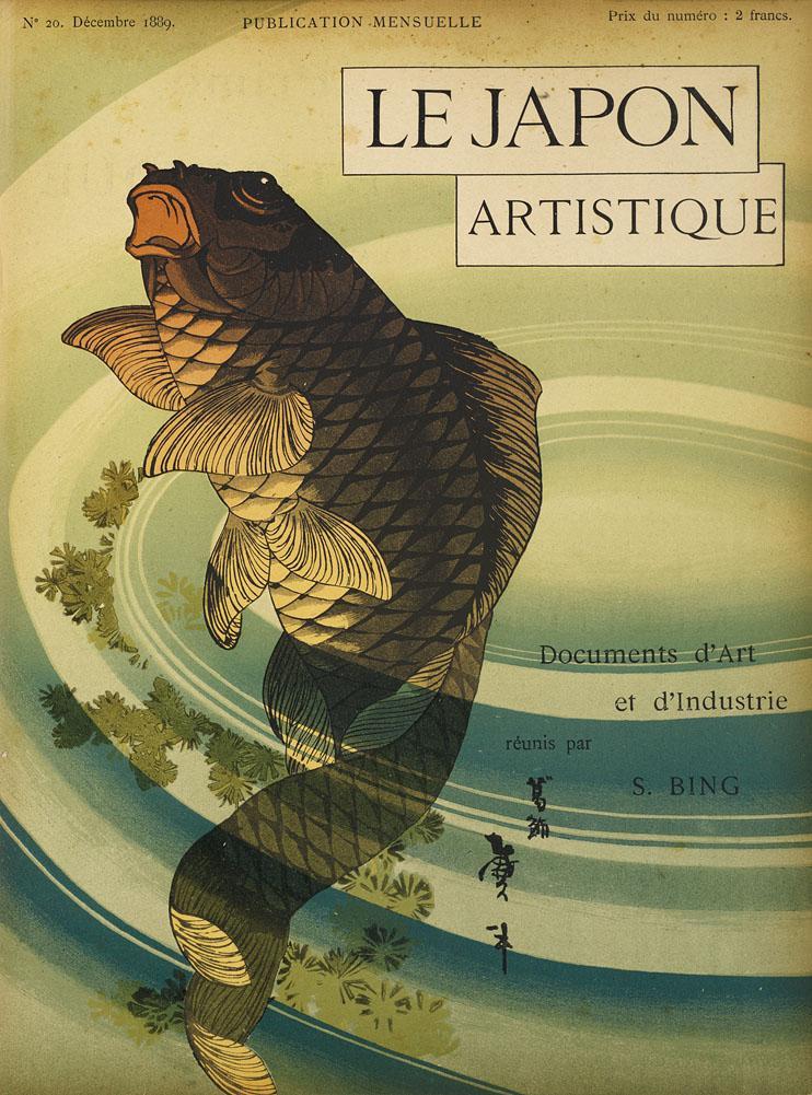 Das Umschlagbild vom 20. Dezember 1889 zeigt den Schriftzug des Titels, Le Japon artistique, und einen japanischen Farbholzschnitt: ein Karpfen steigt aus dem Wasser auf, in den dabei entstehenden kleinen Wellen spiegeln sich Blätter.