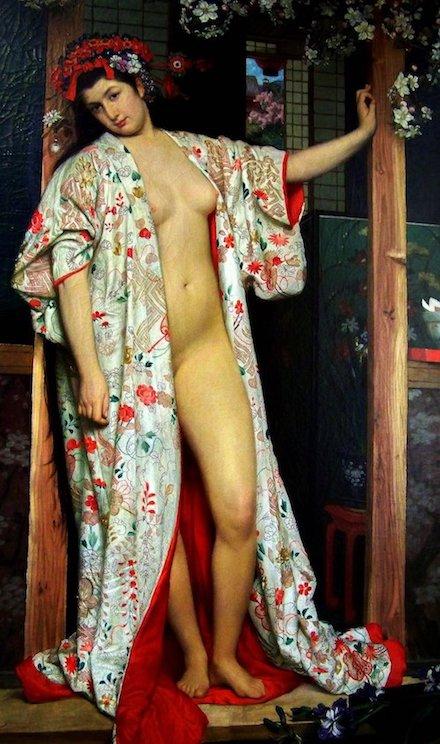 La Japonaise au bain von James Tissot lehnt sich lässig an einen mit Blumen geschmückten Türrahmen. Der offene Kimono mit Blumenmuster verdeckt ihren nackten Körper nicht.