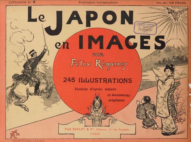 Deckblatt der 245 Zeichnungen von Félix Régamey. Links im Bild ein japanischer Soldat mit erhobenem Schwert im Galopp, rechts Mutter und Kind im Kimono.