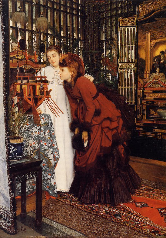 Auf dem Gemälde von James Tissot beugen sich zwei junge Damen über ein Schiffsmodell. Der gesamte Raum ist mit exotischen Tüchern, Teppichen, Wandverkleidungen und Gegenständen dekoriert.