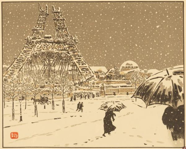 """Tafel 3 der """"36 Ansichten des Eiffelturms"""" von Henri Rivière zeigt Paris bei Schneefall, Passanten mit Schirm, der Eifelturm im Bau."""