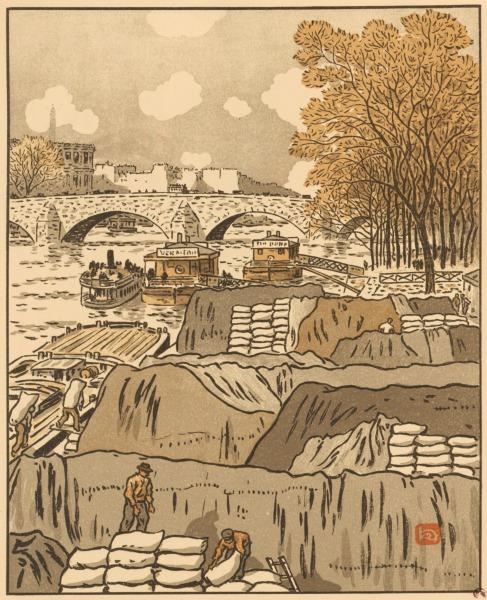 """Tafel 7 der """"36 Ansichten des Eiffelturms"""" von Henri Rivière zeigt Lastkähne auf der Seine, nur die Spitze des Eiffelturms ist in Hellgrau ganz im Hintergrund zu erkennen."""