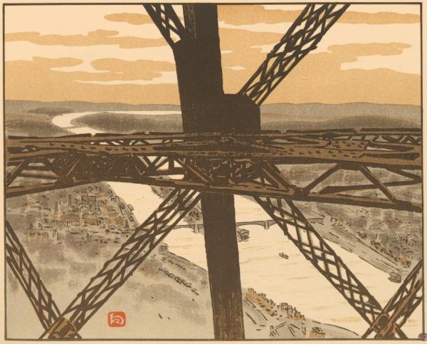 """Tafel 25 der """"36 Ansichten des Eiffelturms"""" von Henri Rivière zeigt eine Nahaufnahme des Metallgerüsts des Eifelturms, von oben im Hintergrund die Seine und die Häuser der Stadt."""